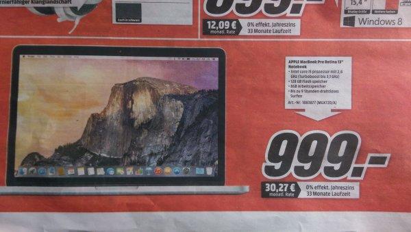 """[ Lokal]Apple MacBook Pro 13,3"""" Retina 2014 (Ci5-4278U, 8GB, 128GB SSD, Mac OS X 10.x) (MGX72 D/A) @MediaMarkt Aachen + 3 Märkte in Umgebung + MG"""