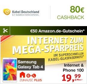 Kabel Deutschland Internet&Phone 100 bei Qipu wieder mit 80€ + 50€ Amazon-Gutschein