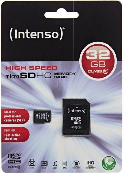 Intenso 32GB Micro SDHC Speicherkarte Class 10 Karte inkl. SD SDHC Card Adapter @ebay