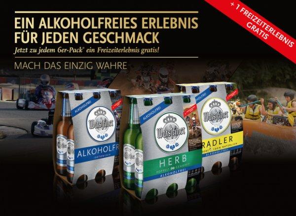 Aktions-Sixpack Warsteiner alkoholfrei/Radler kaufen und 2für1 Gutschein für ein Freizeiterlebnis erhalten oder ein komplett kostenloses Erlebnis (u.A gratis Tageskarte für das Allwetterbad Warstein, gratis 2 Stunden Segway-Tour in Berlin)