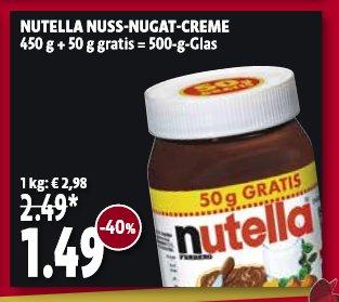 [Kaiser's Nordrhein] (2.3 - 7.3) Nutella 500g für 1,49€ (2,98€/kg)