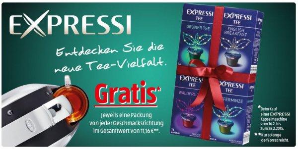 Expressi: Beim Kauf einer Expressi Kapselmaschine eine Packung Tee GRATIS