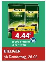 Lidl: Jacobs Krönung Kaffee Aroma-Bohnen für 4,44 (500g)