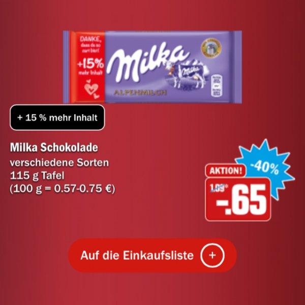 [HIT] Milka 115g Tafel versch. Sorten