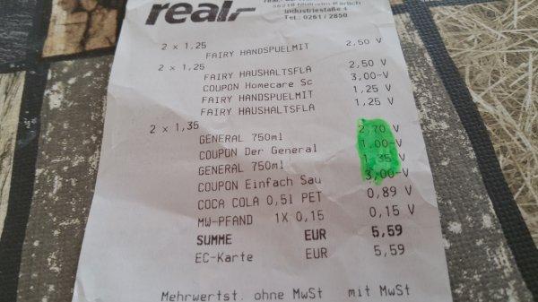 """3x  """"Der General"""" für 0,05€ bei Real"""