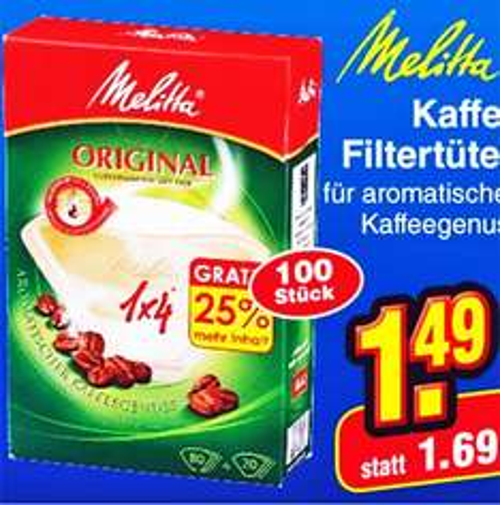 Melitta Kaffee Filtertüten zum Sonderpreis plus 20 Tüten extra bei [Netto MD]