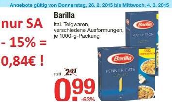 [ULM] V-Markt 15% auf alles* z.B. Barilla 1KG nur 0,84€ ! nur am 28.02.2015 !