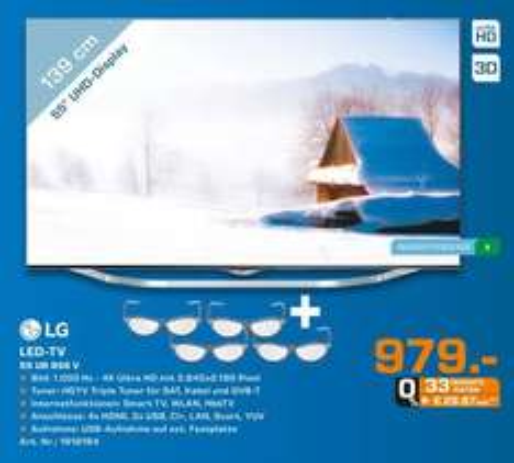 [Lokal Saturn Bielefeld] LG 55UB856V 139 cm (55 Zoll) Cinema 3D LED-Backlight-Fernseher (Ultra HD, 1000Hz UCI, DVB-T/C/S, CI+, Smart TV, HbbTV, 2.0 Soundsystem, 3D Dual Play) für 979,-€ Bis morgen 28.02...750,94€ unter IDEALO