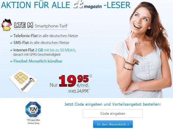 monatlich kündbar Allnet Flat / SMS Flat / 2 GB bei 50,0 Mbit/s LTE für 19,95 € im o² Netz. Die DeutschlandSIM LTE M für c't-Leser