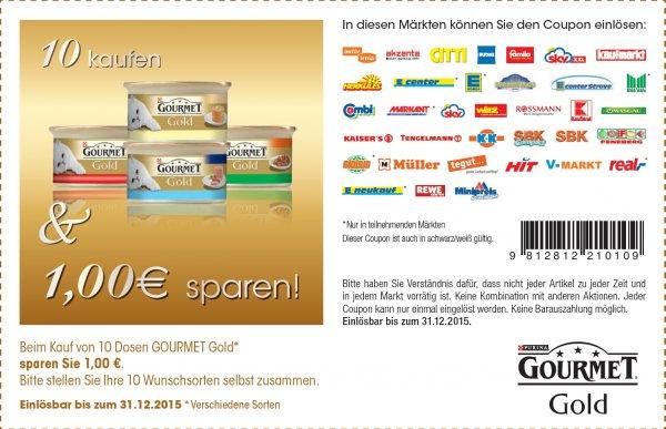 [Real] Purina Gourmet Gold Katzenfutter 10 Büchsen 2,50€ durch 1€ Coupon, pro Büchse 0,25€