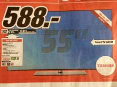 To­shi­ba 55L5445DG, 3D Full HD LED TV 140cm (55 Zoll), SmartTV, Triple Tuner für €588 am 01.03.2015 bei Media Markt Rostock-Sievershagen