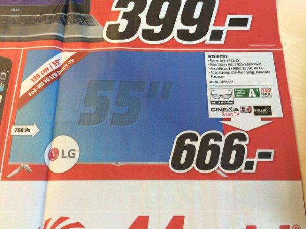 LG 55 LB 679 V für 666,- bei Media Markt Köln Kalk Arcaden ab Montag 02.03.