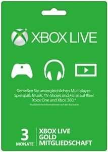 Microsoft™ - Xbox Live: Gold-Mitgliedschaft 3 Monate ab €9,86 [@Saturn.de]