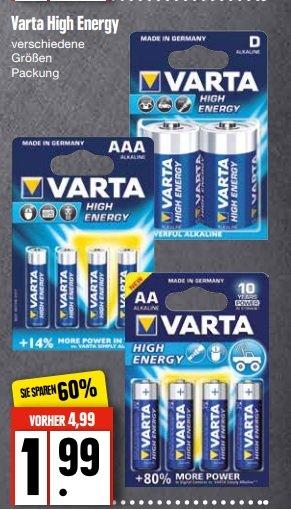 Edeka Nord Varta High Energy Batterien vers. Grössen durch Coupies nur 99 Cent die Packung!