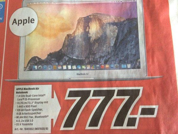 "[Lokal MM Heilbronn] MacBook Air 13"", 4GB, 128GB SSD, MD760D/B, 777€"
