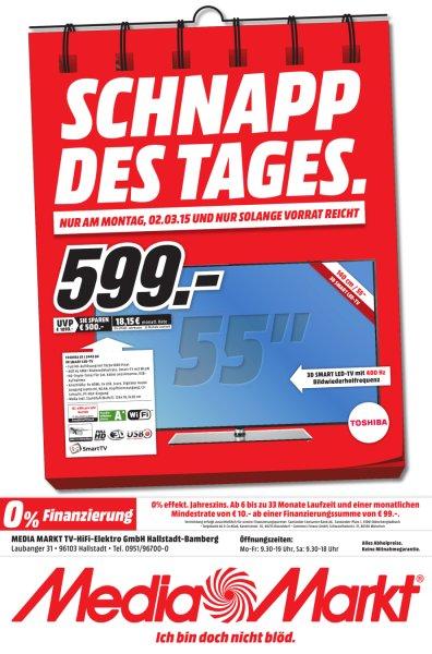 [lokal Hallstadt-Bamberg] TOSHIBA 55L5445DG 3D Edge-LED-Backlight-Fernseher für 599,- € @ MM NUR HEUTE!