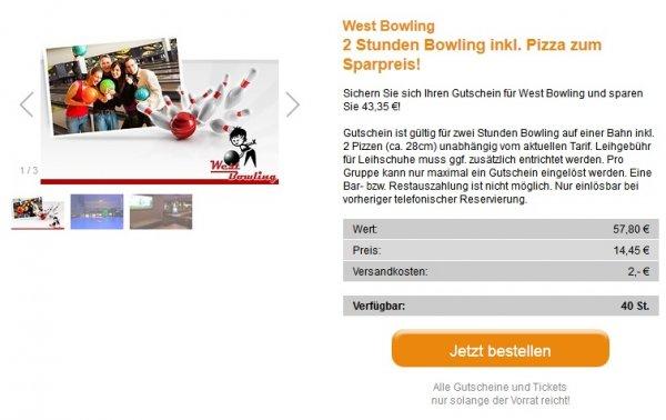 [lokal Nürnberg] 2 Stunden Bowling + 2 Pizzas (28cm) für 16,45€