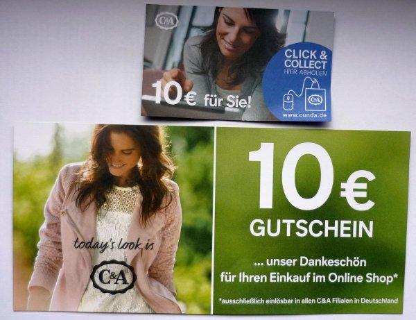 Bei C&A durch Kombination von on- und offline-Einkauf 2x10 € sparen (CundA)