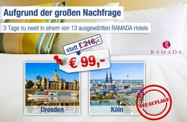 RAMADA – Gutschein für ausgewählte Hotels – 2 Personen inkl. 2 Übernachtungen und Frühstück nur 84€