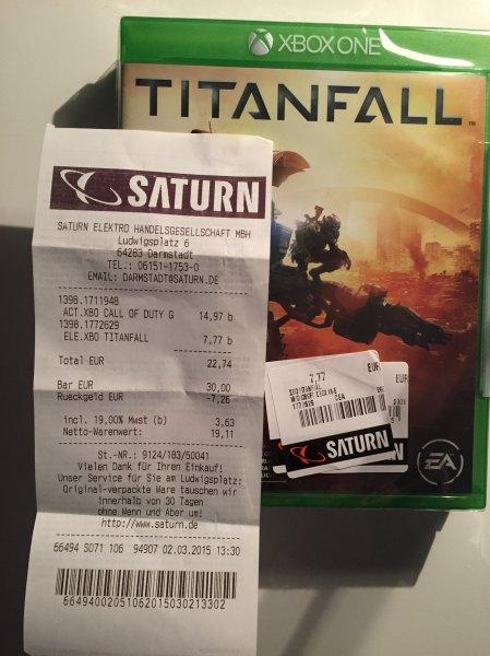 Titanfall (Xbox One) für 7,77 € und weitere Spiele @ Saturn Darmstadt (lokal)