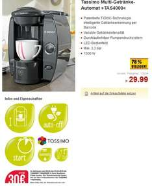 Bosch Tassimo bei Kaufland für 29,99 € mit 30 € Gutschein