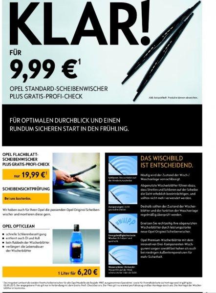 Original Opel Wischerblätter ab 9,99 €   ab dem 16. März 2015