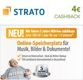 [qipu] Strato- HiDrive Media – 100 GB für 1 Jahr zu 1 € + 4€ Cashback von Qipu