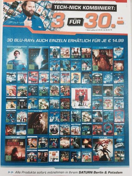 (Lokal) Saturn Berlin & Potsdam 3/Drei/3x 3D Blu-Ray's für 30 Euro