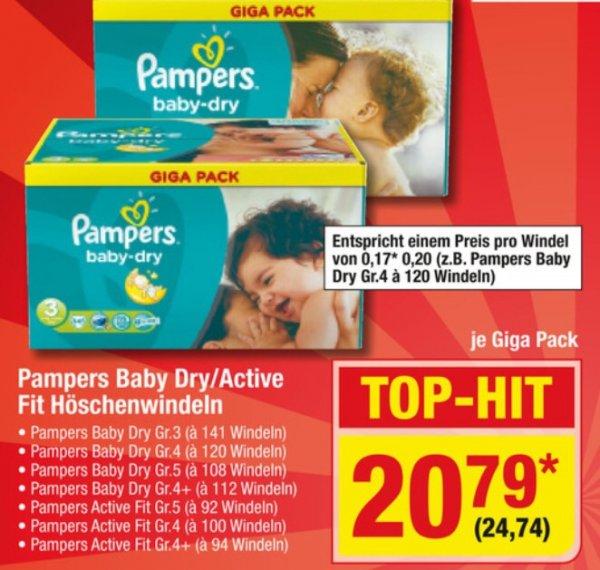 Pampes Baby Dry/ Active Fit , Metro, Samstagspreisknaller, Giga Pack, diverse Größen