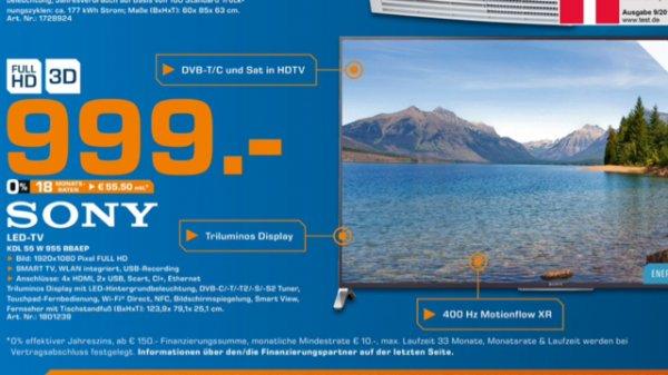 Tagesangebot Saturn Hamburg Sony 55W955B für 999,-€