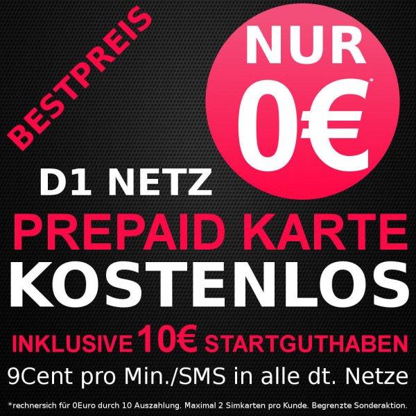 D1/Congstar Prepaid mit 10€ Startguthaben! & 10€ Cashback (max. 2 Karten p.P.)