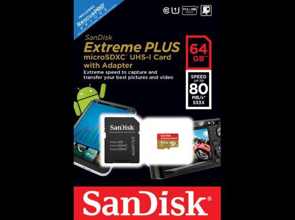 [Saturn Late Night]SANDISK Extreme® PLUS microSDXC™ 64 GB UHS-I Speicherkarte mit Adapter für 49,-€ Minus 5€ NL Gutschein VSK frei..ca.57% unter Idealo