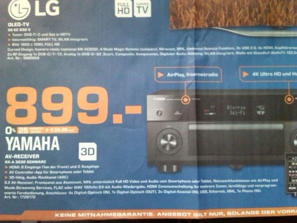 [Lokal Hamburg] Yamaha RX-A 3030 Receiver schwarz 899,- Tagesangebot Saturn am 07.03.15