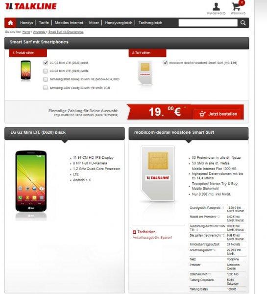 Talkline / Mobilcom Debitel Vodafone Smart Surf – 50 Freiminuten / 50 Frei-SMS / 1 GB bei 14,4 Mbit/s UMTS / rechnerisch ab 6,37 €/Monat