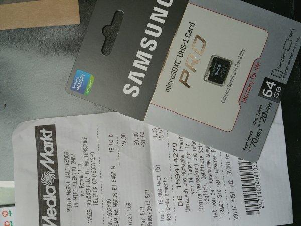 Samsung Pro 64GB microSDXC für 19 Euro!! (Media Markt in Waltersdorf!)