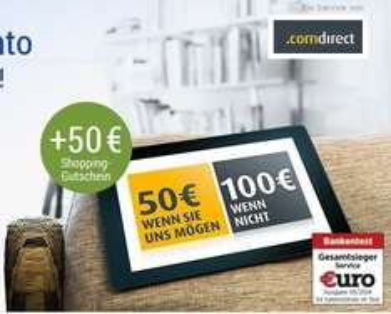 GMX: Kostenloses Comdirect Girokonto + 50 bzw. 100 € Cashback + 50 € Amazon-Gutschein + KwK