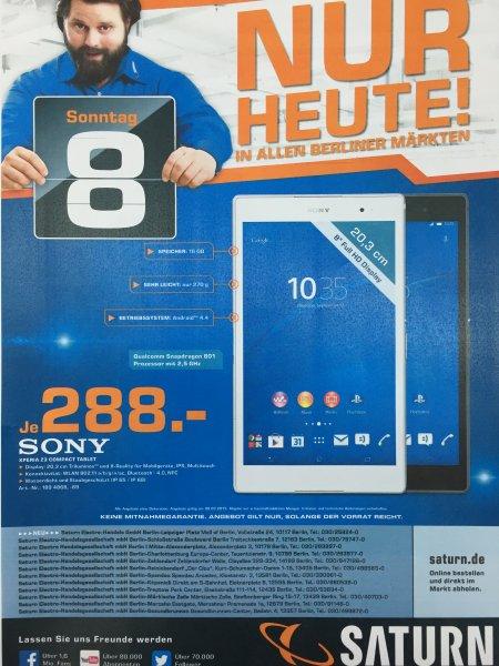(Lokal) Saturn Berlin Sony Xperia Z3 Compact Tablet 16GB WiFi für 288€ nur am Sonntag den 08.03.2015