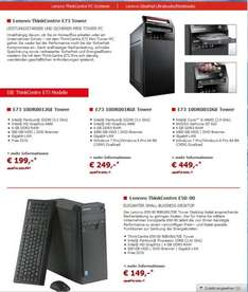 Alternate:Lenovo Desktops z.b G3240,1TB,HD4400,4GB Win7+Win8 PRO 249 Euro  ( andere ab 149 Euro )