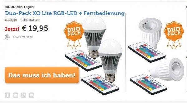 [ibood Tagesdeal] 2 x XQ-Lite RGB-LED + Fernbedienung (Duo Pack XQ1382 (GU10) oder XQ1381 (E27) für 25,90€ inc.VSK
