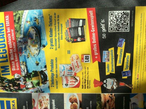[Lokal Nordbayern?] EDEKA: 2 gratis Tickets fürs Legoland beim Kauf von 2 kinder Produkten