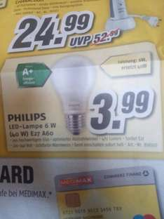 [Lokal] Philips LED lampe E27 6W (40W)