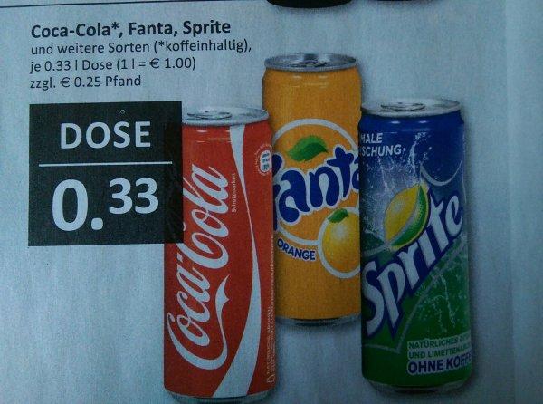 [Edeka-Filialen von Czaikowski in Rheinhausen]0,33€ je 0,33l Dose CocaCola-Produkte