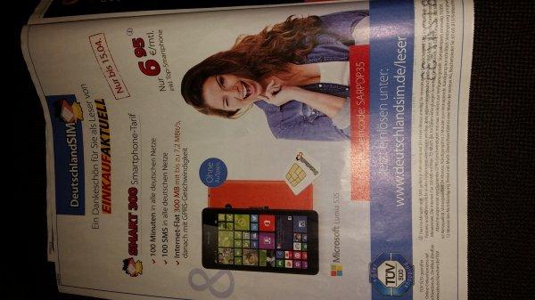 Smart 300 (100Min/100SMS/300MB) inkl. Lumia 535 für 6,95€ monatlich (DeutschlandSIM)