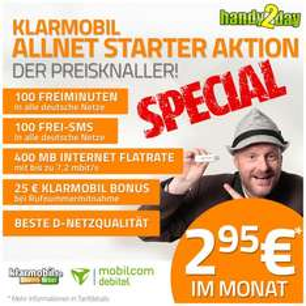 Klarmobil Vodafone Allnet Starter: 100 Freiminuten, 100 Frei SMS, 400 MB bei 7,2 Mbit/s UMTS, 2,95 € mtl + einmalig 9,95€