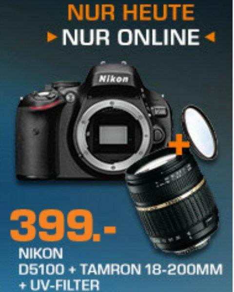 Saturn.de Nikon D5100 + Tamron AF 18-200 mm + Tamron UV-Filter 399€