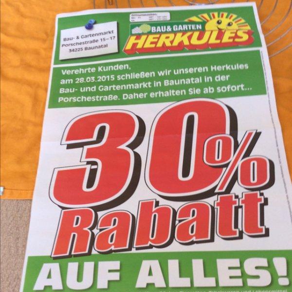 Herkules Bau & Garten in Baunatal 30% auf alles wegen Schließung