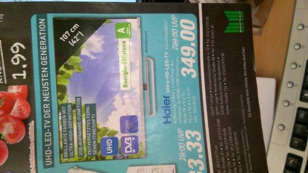 "[Lokal OWL Marktkauf vom 12.03.-14.03.] 42"" Haier UHD Fernseher 349€ - Idealo ab 568 € (Pixmania)"
