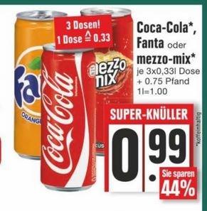 Cola / Fanta / Mezzo Mix 3 Dosen für 0,99€ EDEKA