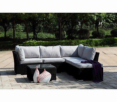 6-teilige Polyrattan - Aluminium - Garnitur (grau) Dehner-Gartenmarkt / Dandler Wohnset Bradford
