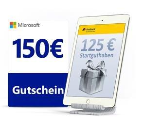 150€ Microsoft Gutschein oder 125€ Startguthaben für kostenloses Postbank Girokonto (kein Gehaltsnachweis nötig)